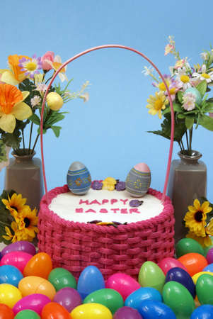 An Easter cake still-life with vivid colors for the holiday season. photo