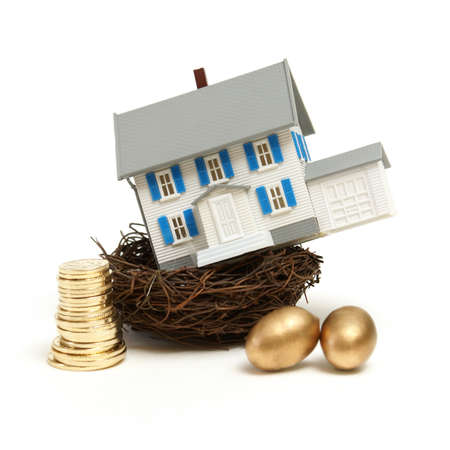nest egg: A model house rests in a nest with gold coins and eggs for many investment concepts.