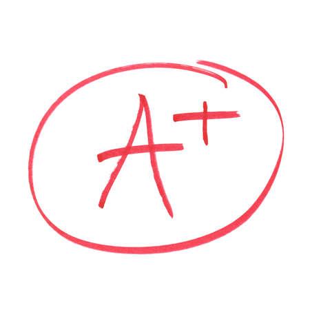 grading: Una nota manuscrita de los logros m�s altos.