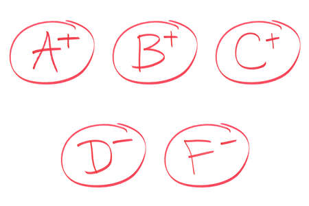 compiled: A set of various grades compiled into one image. Stock Photo