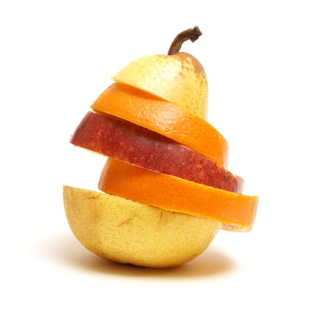 A variety of fruit arranged to make a unique pear shape.