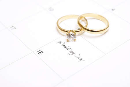 A note on a calendar sets a reminder for the wedding day. photo
