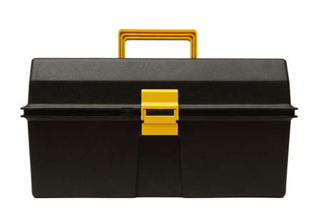 An isolated black toolbox used by the construction industry. photo