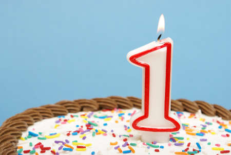 one year: A celebration of the first year either for a birthday, business or other event. Stock Photo
