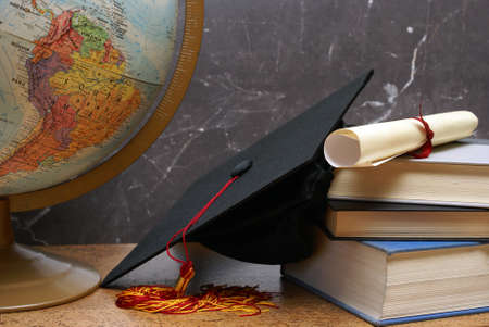 black graduate: A still life representing the intellectual mind.
