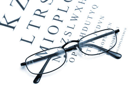 emphasize: An eye chart with a pair of glasses to emphasize vision correction.