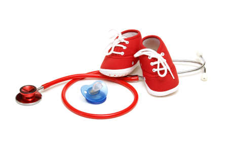 relating: An isolated shot of objects relating to the profession of pediatrics healthcare. Stock Photo