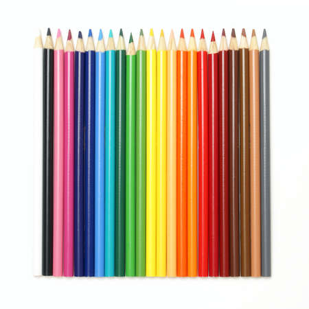 art supplies: A set of pencil crayons isolated on white. Stock Photo