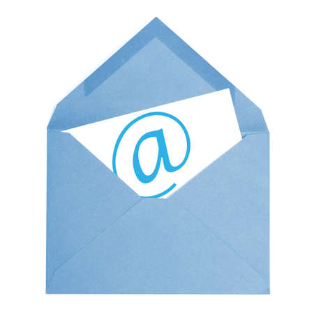 A blue email envelope is isolated on a white background. photo