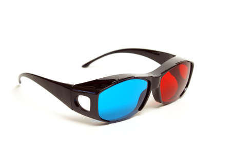 sleek: A pair of sleek 3D glasses isolated on white. Stock Photo
