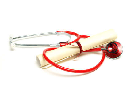 doctors tool: An isolated stethoscope and diploma scroll represent a graduating healthcare professional.