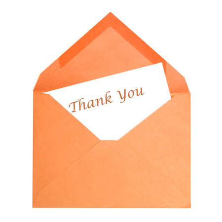 thank you card: An isolated thank you card that has been opened by its receiver.
