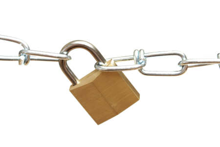 durable: A closeup shot of a secure padlock and chain link.