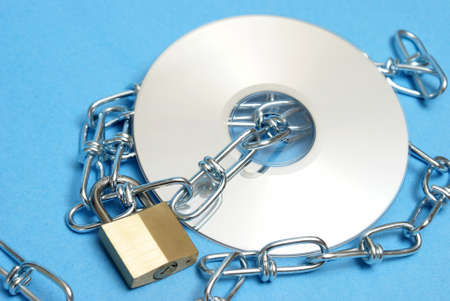 A lock and chain protect this data disk from intruders. photo