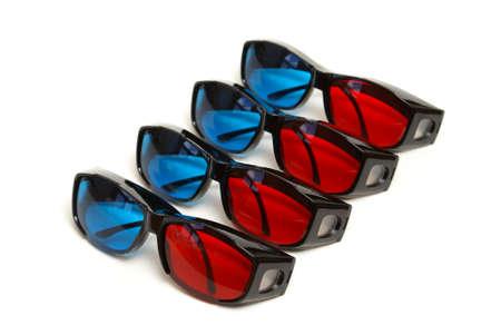 sleek: Four pair of sleek 3D glasses isolated on white.