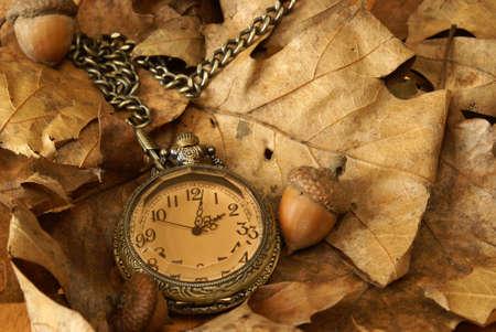 reloj antiguo: Un reloj de bolsillo en algunas hojas de roble y bellotas muertos para el cambio de la temporada de otoño. Foto de archivo