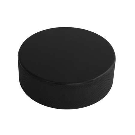 hockey puck: An isolated hockey puck laying flat over a white background. Stock Photo