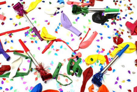 noise maker: A vibrant background of party supplies great for celebrating. Stock Photo