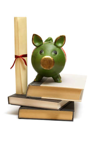 college fund savings: An isolated pig bank and diploma scroll represent educational finances.