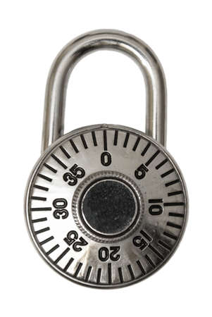An isolated combination lock that you would use to protect your valuables. photo