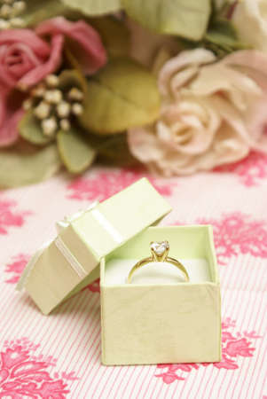 A beautiful diamond ring in a green jewelry box. photo