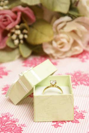 A beautiful diamond ring in a green jewelry box. photo