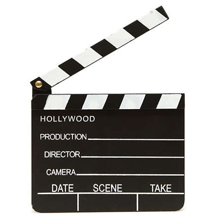 clapper: An isolated shot of a hollywood clapboard for film production. Stock Photo
