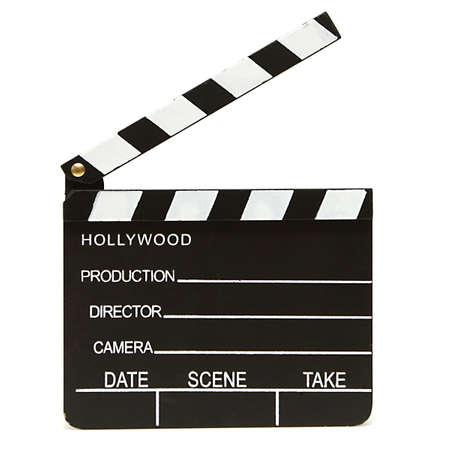 Een geïsoleerde schot van een hollywood clapboard voor de filmproductie.
