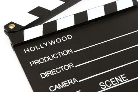A closeup shot of a hollywood clapboard for film production. Stock Photo