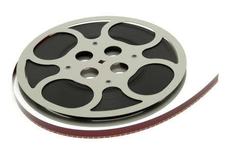 An isolated shot of a 16mm movie reel for projection playing at theaters. photo