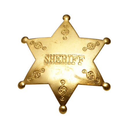 An isolated shot of a sheriff badge. photo
