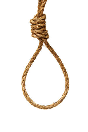 suffocate: A ready made noose on a white background. Stock Photo