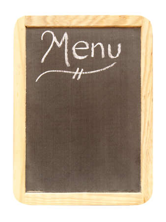 A blank menu sign isolated on white with room for your text. photo