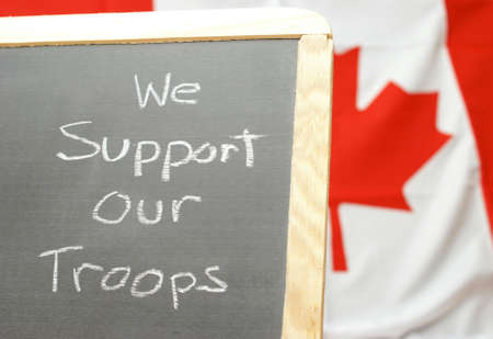 A handmade sign for supporting our Canadian troops. photo