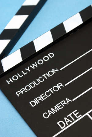 A closeup shot of a hollywood clapboard for film production. photo