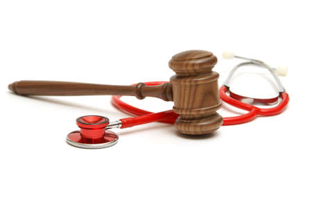 A concept related to a medical lawsuit in the legal system. Stock Photo