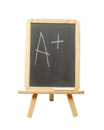 An a plus is wrote on a student chalkboard for outstanding work. photo