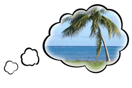 thought clouds: Thought bubbles surround a warm tropical paradise to represent the dream vacation. Stock Photo