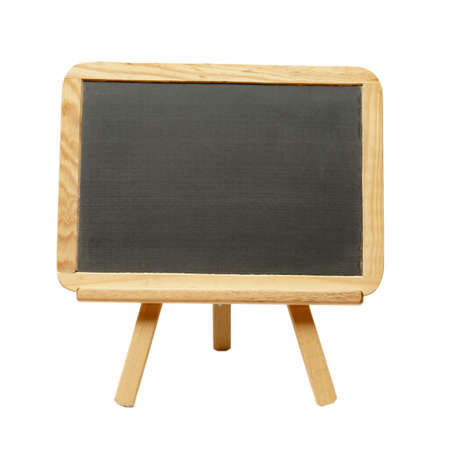 An isolated shot of a blank chalkboard on an easel. photo