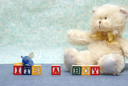 An announcement congratulating the parent on their new baby boy. photo