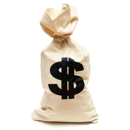 An isolated shot of a bag of money with the dollar symbol stamped on it.