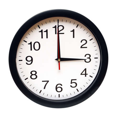 am: An isolated clock with the time being three am. Stock Photo