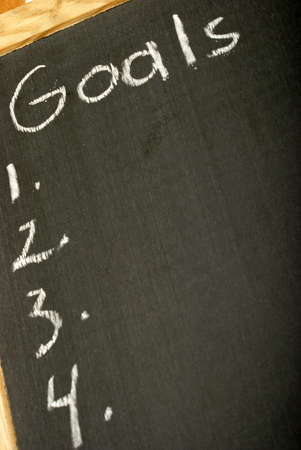 specific: A list of goals numbered on a chalkboard for the successful mindset.