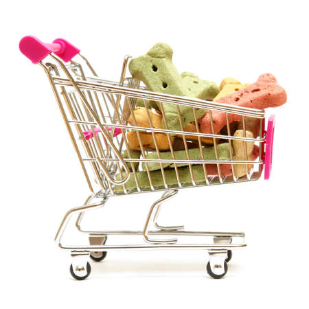 A shopping cart full of the pets favorite treat for when he is on good behavior.