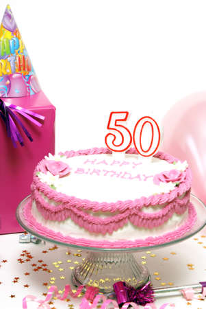 A 50th birthday cake for to celebrate someones special day.