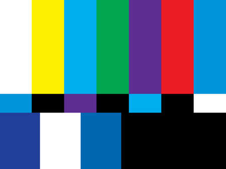 test pattern: A 4:3 aspect ratio television screen is off air from broadcasting its shows. Stock Photo