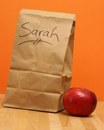 thrifty: A brown lunch bags prepared specially for Sarah.