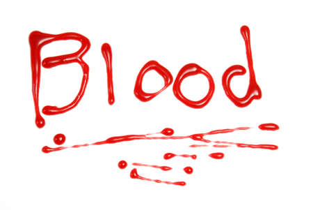 single word: A single handwritten word wrote in blood. Stock Photo