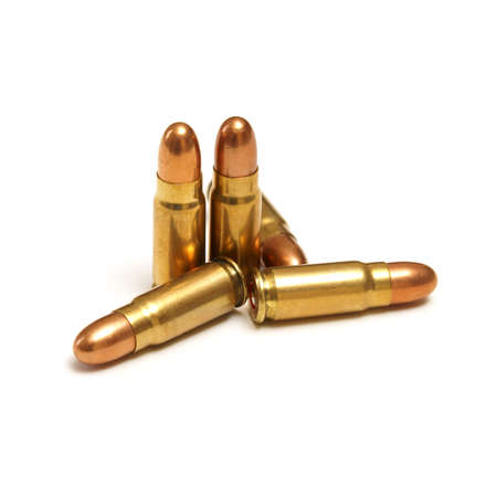 An isolated shot of five bullets on white. Stock Photo - 16401248