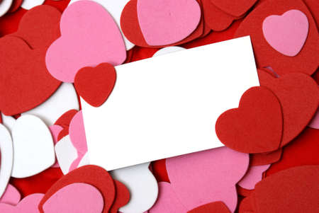 A blank card for your text surrounded by loving hearts. Banco de Imagens